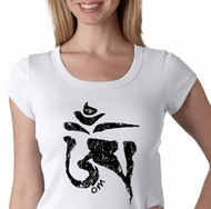 Ladies Yoga Shirt Black Tibetan Om Scoop Neck Tee T-shirt
