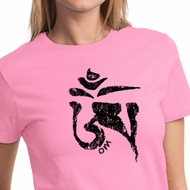 Ladies Yoga Shirt Black Tibetan Om Tee T-shirt