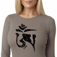 Ladies Yoga Shirt Black Tibetan Om Thermal T-shirt
