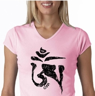 Ladies Yoga Shirt Black Tibetan Om V-neck Tee T-shirt