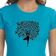 Ladies Yoga Shirt Black Tree Pose Crewneck Tee T-Shirt