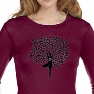 Ladies Yoga Shirt Black Tree Pose Long Sleeve Thermal Tee T-Shirt