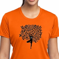 Ladies Yoga Shirt Black Tree Pose Moisture Wicking Tee T-Shirt