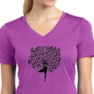 Ladies Yoga Shirt Black Tree Pose Moisture Wicking V-neck Tee T-Shirt