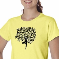 Ladies Yoga Shirt Black Tree Pose Organic Tee T-Shirt