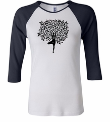 Ladies Yoga Shirt Black Tree Pose Raglan Tee T-Shirt