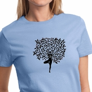 Ladies Yoga Shirt Black Tree Pose Tee T-Shirt