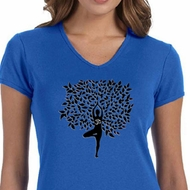 Ladies Yoga Shirt Black Tree Pose V-neck Tee T-Shirt