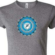 Ladies Yoga Shirt Blue Vishuddha Crewneck Tee T-Shirt
