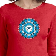 Ladies Yoga Shirt Blue Vishuddha Long Sleeve Tee