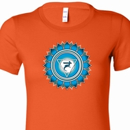 Ladies Yoga Shirt Blue Vishuddha Longer Length Tee T-Shirt