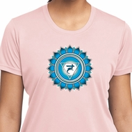 Ladies Yoga Shirt Blue Vishuddha Moisture Wicking Tee T-Shirt