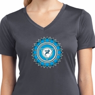 Ladies Yoga Shirt Blue Vishuddha Moisture Wicking V-neck Tee T-Shirt