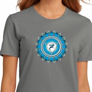 Ladies Yoga Shirt Blue Vishuddha Organic Tee T-Shirt