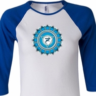 Ladies Yoga Shirt Blue Vishuddha Raglan Tee T-Shirt
