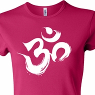 Ladies Yoga Shirt Brushstroke Aum Crewneck Tee T-Shirt