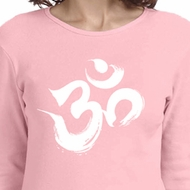 Ladies Yoga Shirt Brushstroke Aum Long Sleeve Tee T-Shirt