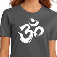 Ladies Yoga Shirt Brushstroke Aum Organic Tee T-Shirt