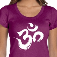 Ladies Yoga Shirt Brushstroke Aum Scoop Neck Tee T-Shirt