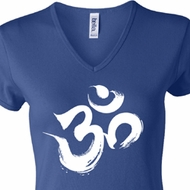 Ladies Yoga Shirt Brushstroke Aum V-neck Tee T-Shirt