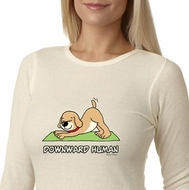 Ladies Yoga Shirt Downward Human Long Sleeve Thermal Tee T-Shirt