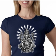 Ladies Yoga Shirt Ganesha Crewneck Tee T-shirt