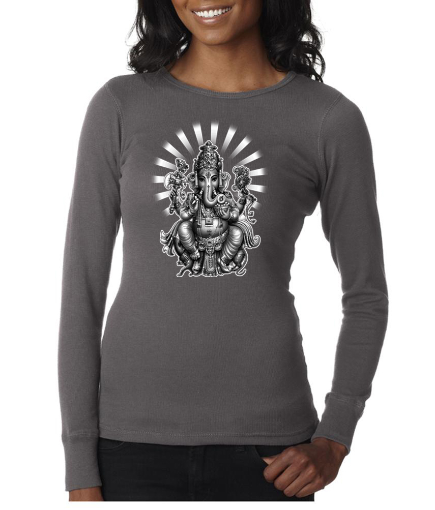 Ladies yoga shirt ganesha long sleeve thermal ganesha Yoga shirts with sleeves