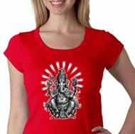 Ladies Yoga Shirt Ganesha Scoop Neck Tee T-shirt