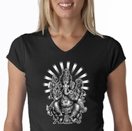 Ladies Yoga Shirt Ganesha V-Neck Tee T-shirt
