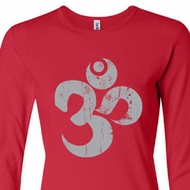 Ladies Yoga Shirt Grey Distressed OM Long Sleeve Tee T-Shirt