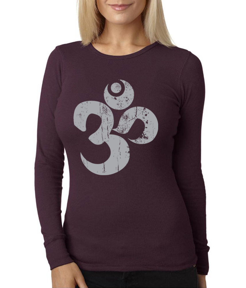 Ladies yoga shirt grey distressed om long sleeve thermal Yoga shirts with sleeves