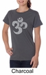 Ladies Yoga Shirt Grey Distressed OM Organic Tee T-Shirt