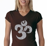 Ladies Yoga Shirt Grey Distressed OM V-neck Tee T-Shirt
