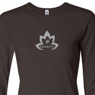 Ladies Yoga Shirt Grey Namaste Lotus Long Sleeve Tee T-Shirt