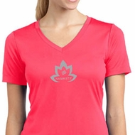 Ladies Yoga Shirt Grey Namaste Lotus Moisture Wicking V-neck Tee