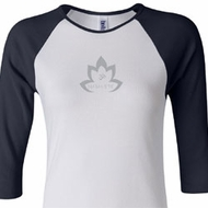 Ladies Yoga Shirt Grey Namaste Lotus Raglan Tee T-Shirt