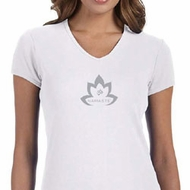 Ladies Yoga Shirt Grey Namaste Lotus V-neck Tee T-Shirt