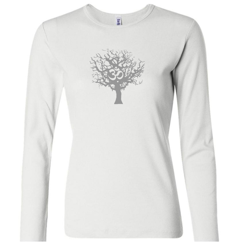 Ladies yoga shirt grey tree of life long sleeve shirt Yoga shirts with sleeves