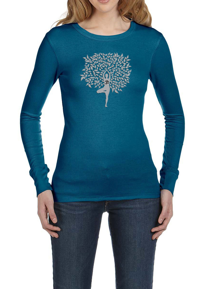 Ladies yoga shirt grey tree pose long sleeve thermal tee t Yoga shirts with sleeves