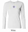 Ladies Yoga Shirt Layered Flower Patch Long Sleeve Tee T-Shirt