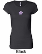 Ladies Yoga Shirt Layered Flower Patch Longer Length Tee T-Shirt