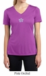 Ladies Yoga Shirt Layered Flower Patch Moisture Wicking V-neck Tee