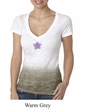 Ladies Yoga Shirt Layered Flower Patch Ombre Burnout Tee T-Shirt