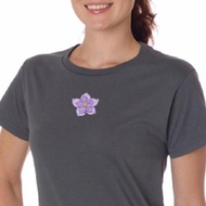 Ladies Yoga Shirt Layered Flower Patch Organic Tee T-Shirt