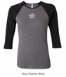 Ladies Yoga Shirt Layered Flower Patch Raglan Tee T-Shirt