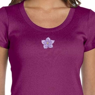Ladies Yoga Shirt Layered Flower Patch Scoop Neck Tee T-Shirt