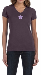 Ladies Yoga Shirt Layered Flower Patch V-neck Tee T-Shirt