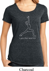 Ladies Yoga Shirt Line Warrior Lace Back Tee T-Shirt