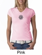 Ladies Yoga Shirt Black Lotus OM Patch Small Print V-neck Tee T-Shirt