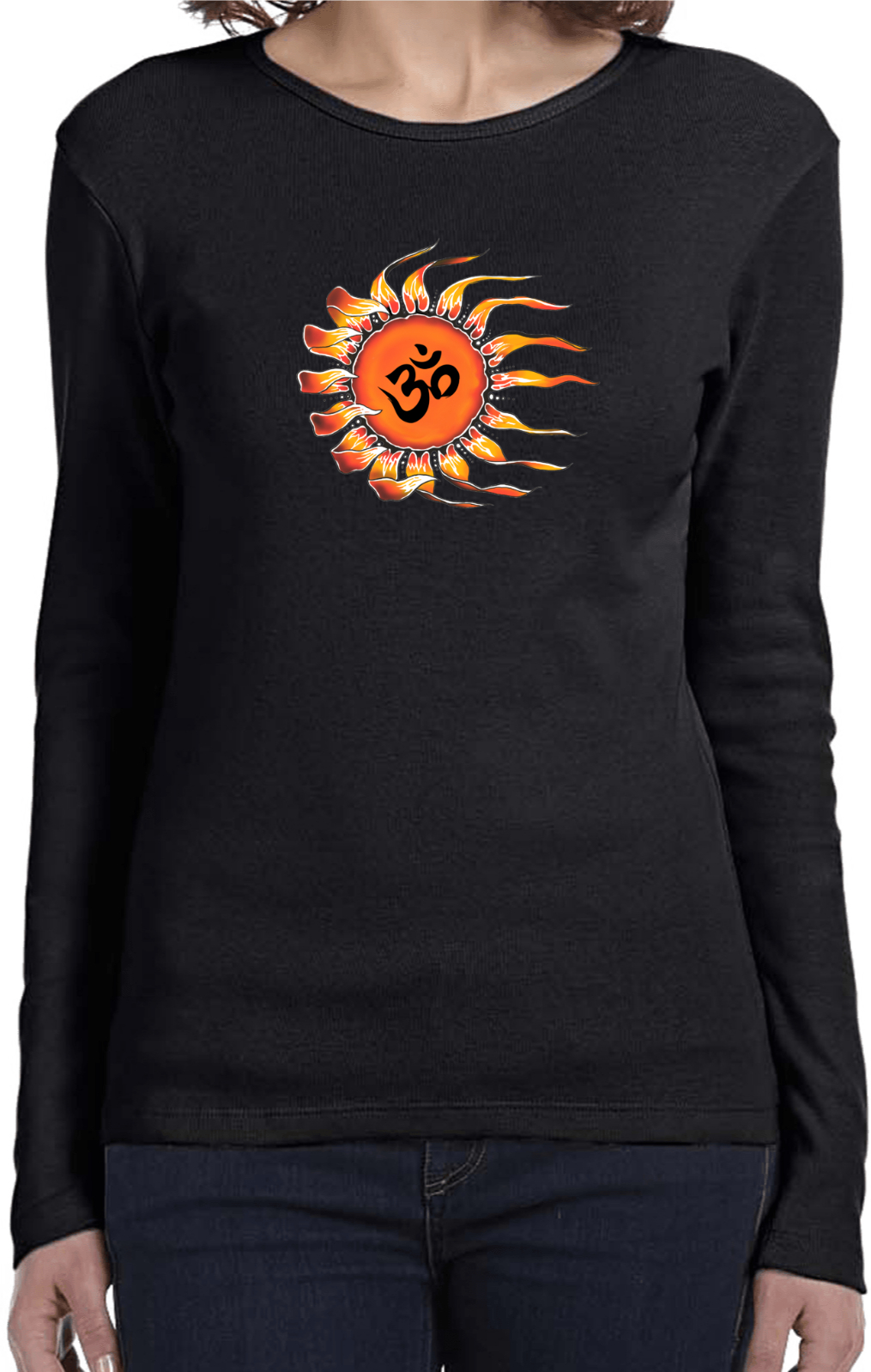 Ladies yoga shirt ohm sun long sleeve tee t shirt ohm Yoga shirts with sleeves